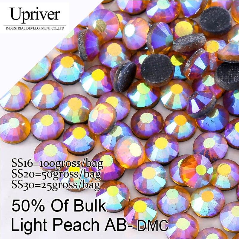 Piedras brillantes de embalaje a granel de la mejor calidad SS16 SS20 SS30 Lt. peach AB Hotfix Rhinestones