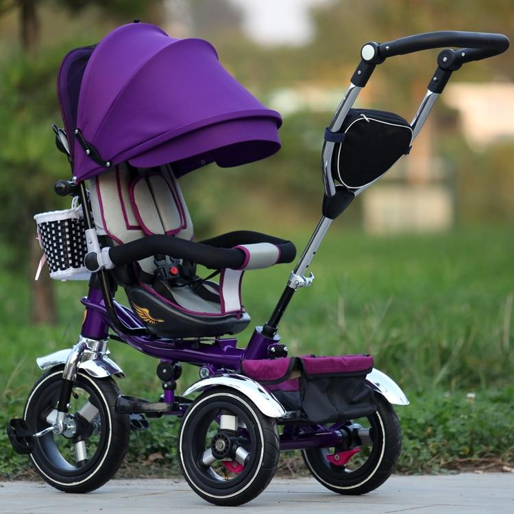 Cochecito triciclo para niños, carrito plegable para bebé, Kis Blike, cochecito de tres ruedas, asiento giratorio, bicicleta reclinable para bebé 6M-5Y