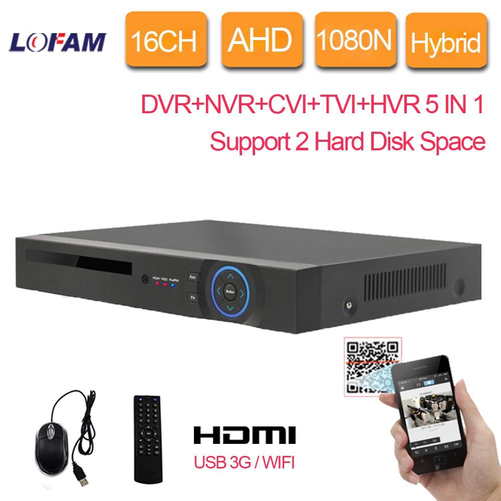LOFAM 16ch AHD 1080N DVR de 16 canales DVR híbrida NVR CVI TVI para diferentes seguridad CCTV cámaras 3G WIFI DVR grabadora 2 X HDD espacio