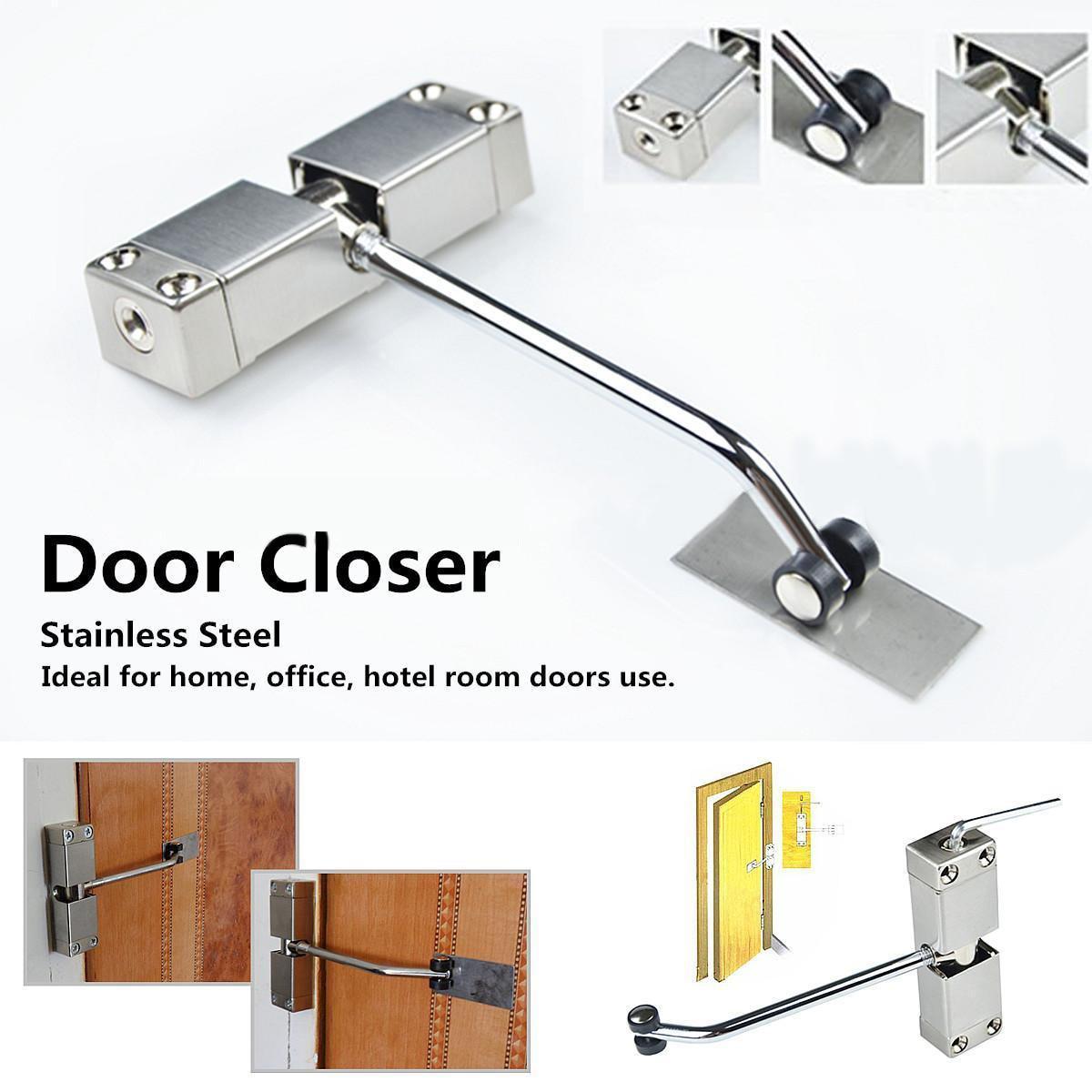 1 ud. Cierre automático de puerta de resorte de acero inoxidable 175 grados cierre de puerta de superficie ajustable 160x96x20mm cierres de puerta