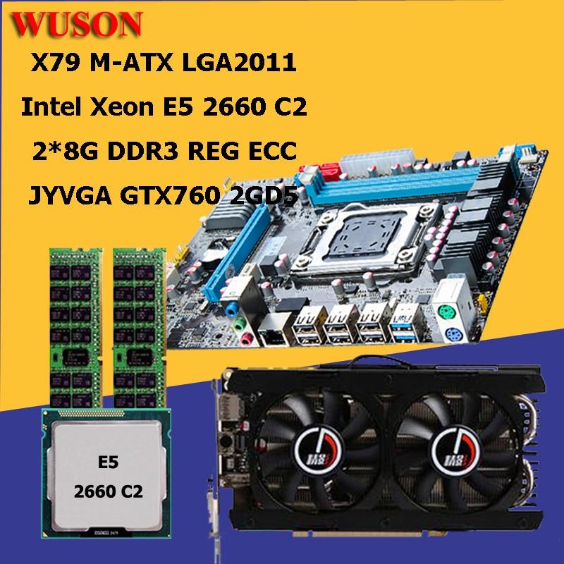Материнская плата HUANAN ZHI X79, процессор ОЗУ, комплект видеокарт CPU Xeon E5 2660 C2 SROKK RAM 16G (2*8G) DDR3 1600 REG ECC видеокарта GTX760 2G