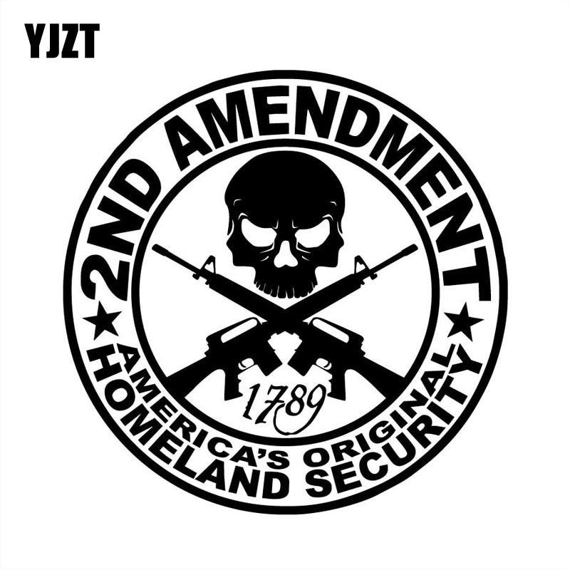 YJZT 15X15CM 2ND AMENDMENT Vinyl Car Sticker Motorcycle Car Accessories Decorative Decals S8-0073