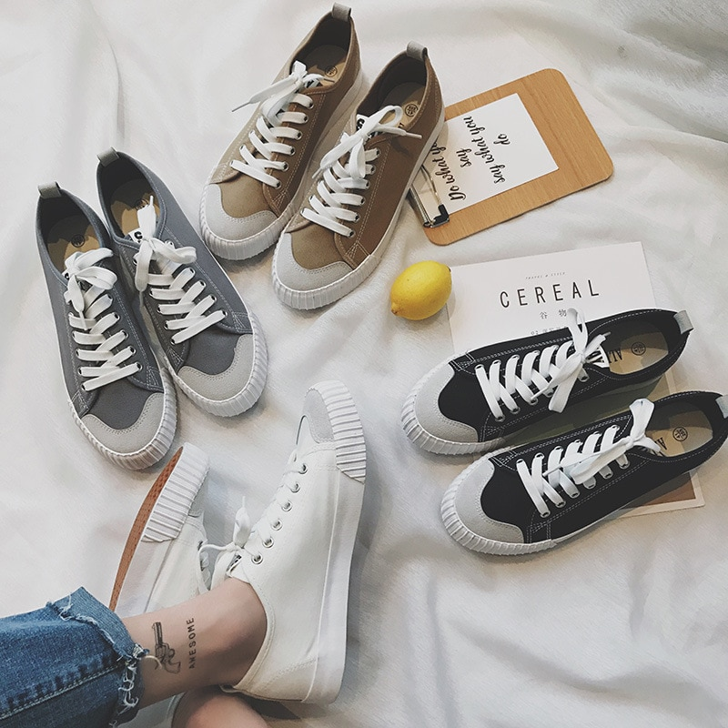 Brand 2019 Breathable Canvas Women Casual Shoes Vulcanize  Fashion Sneakers Lace Up Leisure Footwear