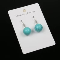 women earrings retro simple water drop shape engraving natural stone turquoises features texture stone earrings