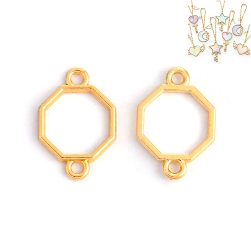 DoreenBeads Resin Frame Open Bezels Blank Pendant DIY Metal Frame For Resin Jewelry Making Flower Hexagon Gold Color 20 Pcs