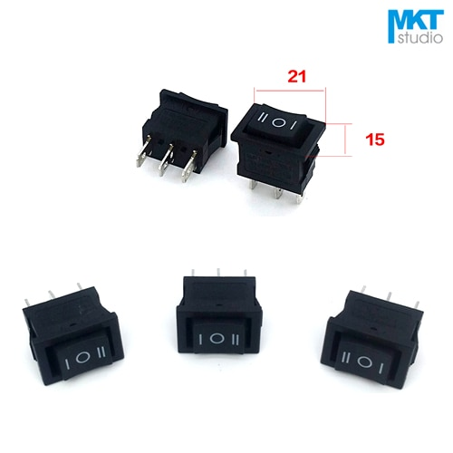 10Pcs Sample Black 21*15mm 3P 3 Pins 3 Positions SPDT Miniature Electrical Rocker Switch