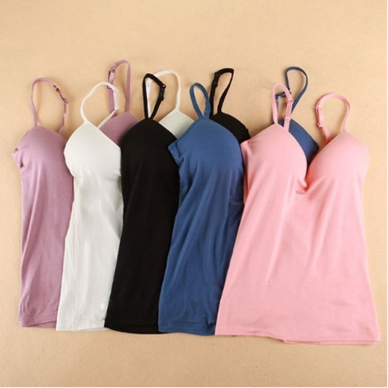 New Summer Women Tank Tops Sexy V-Neck Padded Tanks Tops Strap Camisole Vest Solid Sexy Women Tops N