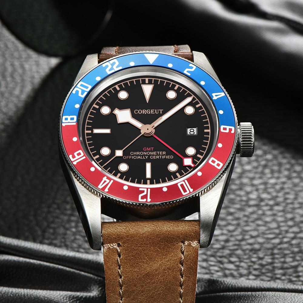 Corgeut-ساعة يد ميكانيكية وأوتوماتيكية للرجال ، ساعة سباحة عسكرية جلدية ، ماركة Schwarz Bay GMT