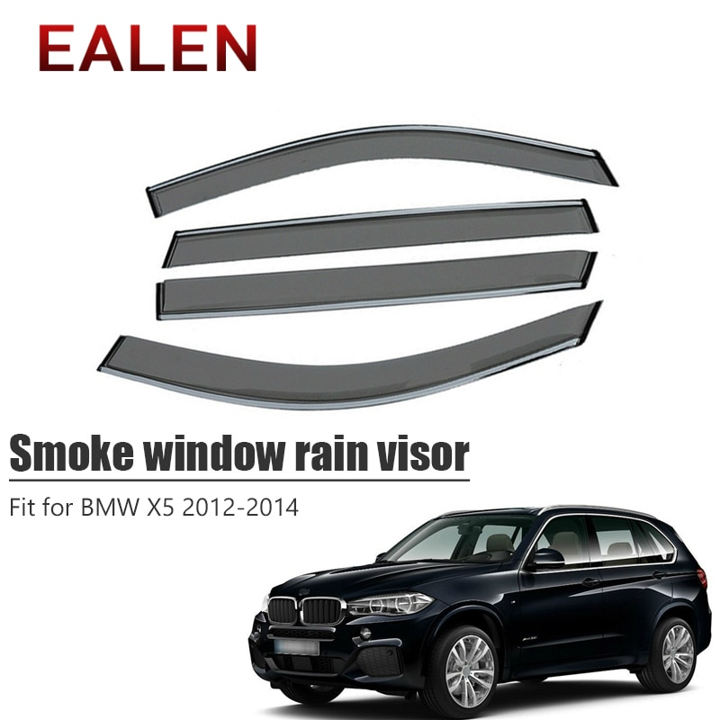 EALEN para BMW X5 2012, 2013 de 2014 estilo respiradero de ABS deflectores solares coche de guardia de Accesorios 4 uds/1 Set humo ventana visor de lluvia