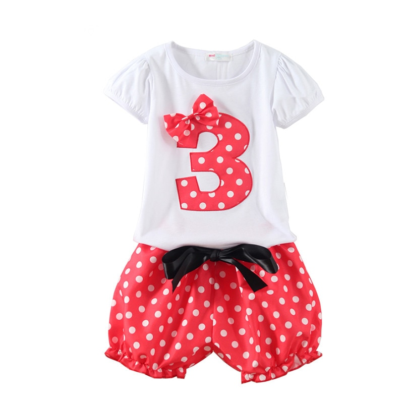 Mudkingdom Little Girls Birthday Figure Outfits Cotton Polka Dot Print Ribbon