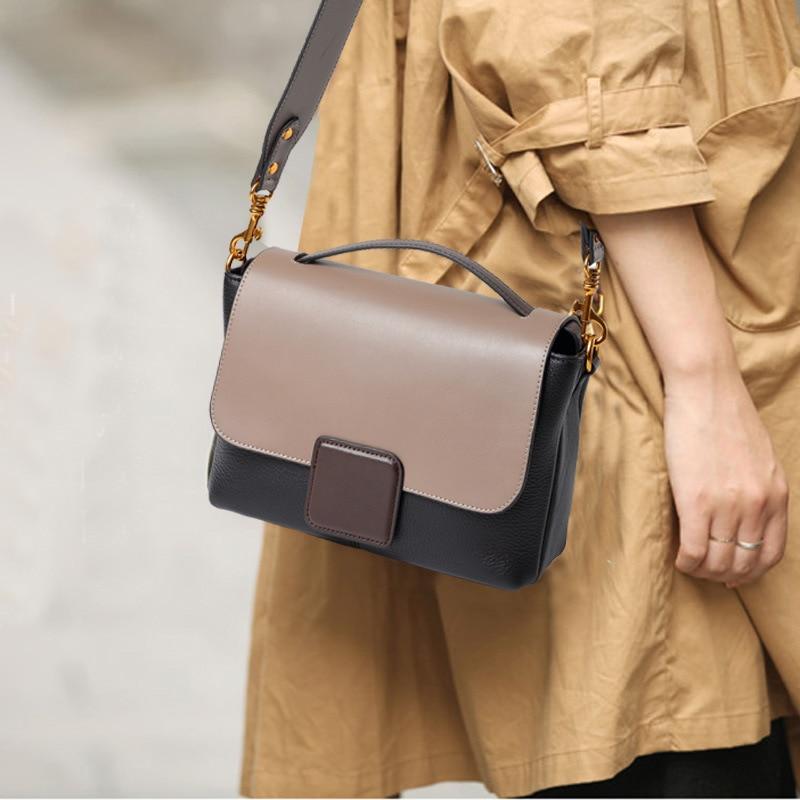 RanHuang 2019 النساء جلد طبيعي حقائب أزياء خليط الكتف أكياس عالية الجودة السيدات جلد البقر رسول أكياس
