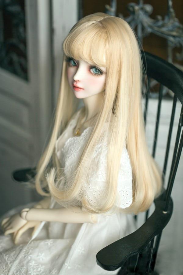 Bjd boneca perucas 1/3 longo pêra encaracolado cabelo com franja de ar alta temperatura fio para 1/6 1/4 1/3 bjd dd sd boneca acessórios