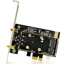 Wireless Mini Half Size PCi-E To PCi-E PCi Express 1X/4X/8X/16X Converter Adapter PCIe Desktop PC WiFi Adapter + Bluetooth Cable