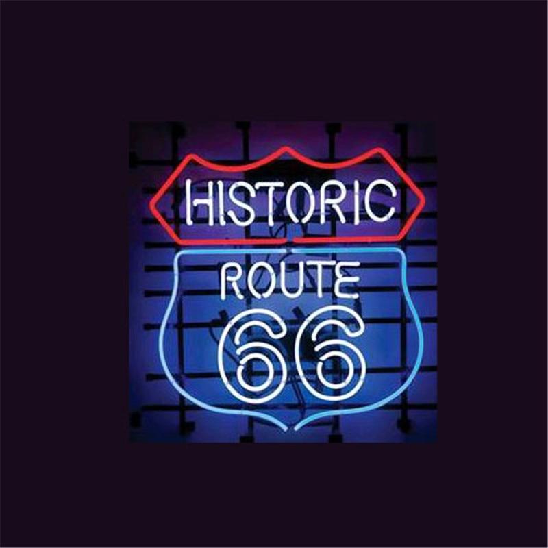 """17*14 """"HISTORIC ROUTE 66 NEON ZEICHEN Schild REAL GLAS BIER BAR PUB Billard display Restaurant Shop outdoor licht Zeichen"""