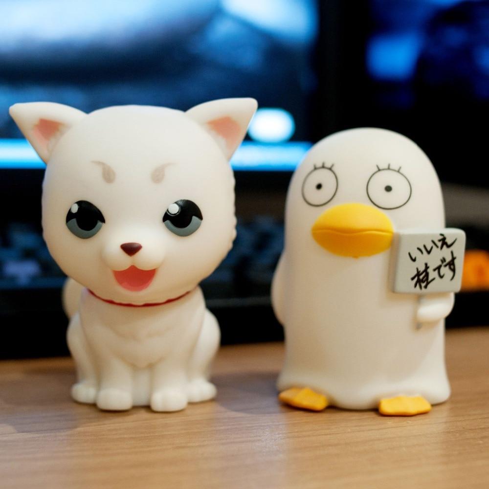 Японские Аниме, 2 шт., милые персонажи мультфильма гинтама, каваи, Sadaharu, Elizabeth dog, penguine, фигурки, коллекционные игрушки, копилка для детей