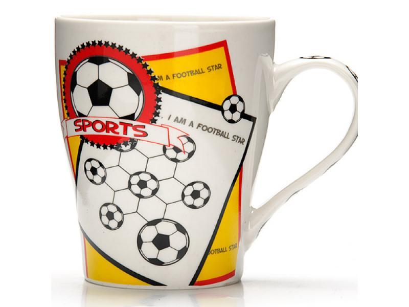 Taza Lorine, fútbol, deportes, 340 ml, blanco