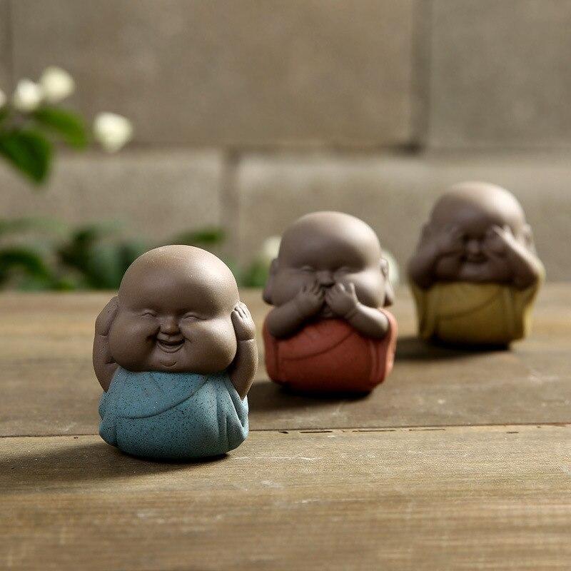 Mini estatua de Buda figurita de monje, té, mascota, artesanía de cerámica, adornos decorativos de alta calidad