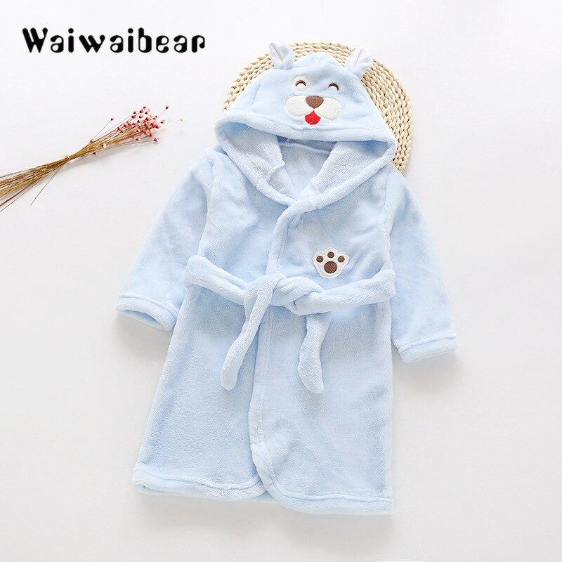 Cartoon Kids Robes Flannel Child Boys Girls Robes Lovely Animal Hooded Bath Robes Long-Sleeved Baby Boy Bathrobe Child Clothing