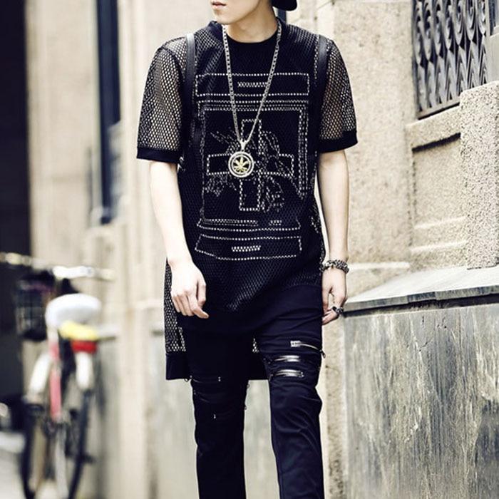 Metrosexual Hollow Mesh Front Short Back Long Novelty T Shirt Mens T Shirts Fashion 2016 Summer Led Tshirt Men Brand Clothing