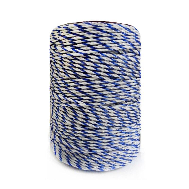 سياج كهربائي بولي سلك أبيض أزرق بولي سلك مع أسلاك فولاذية حبل لسياج الخيل مقاومة منخفضة للغاية سياج من الأسلاك الساخنة