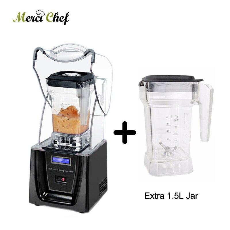 Licuadora de hielo comercial ITOP, 1,5 l, sin Bpa, batidora profesional, mezcladora, exprimidor, procesador de alimentos con una licuadora más, taza con jarra