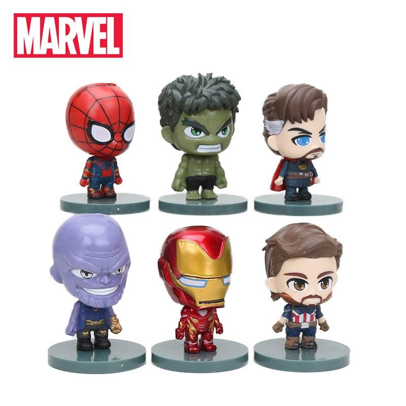 5-10cm 6 uds. Los Vengadores figura Set Infinity War Thanos Ironman Spiderman Capitán América Hulk negro Pantera PVC figuras de acción