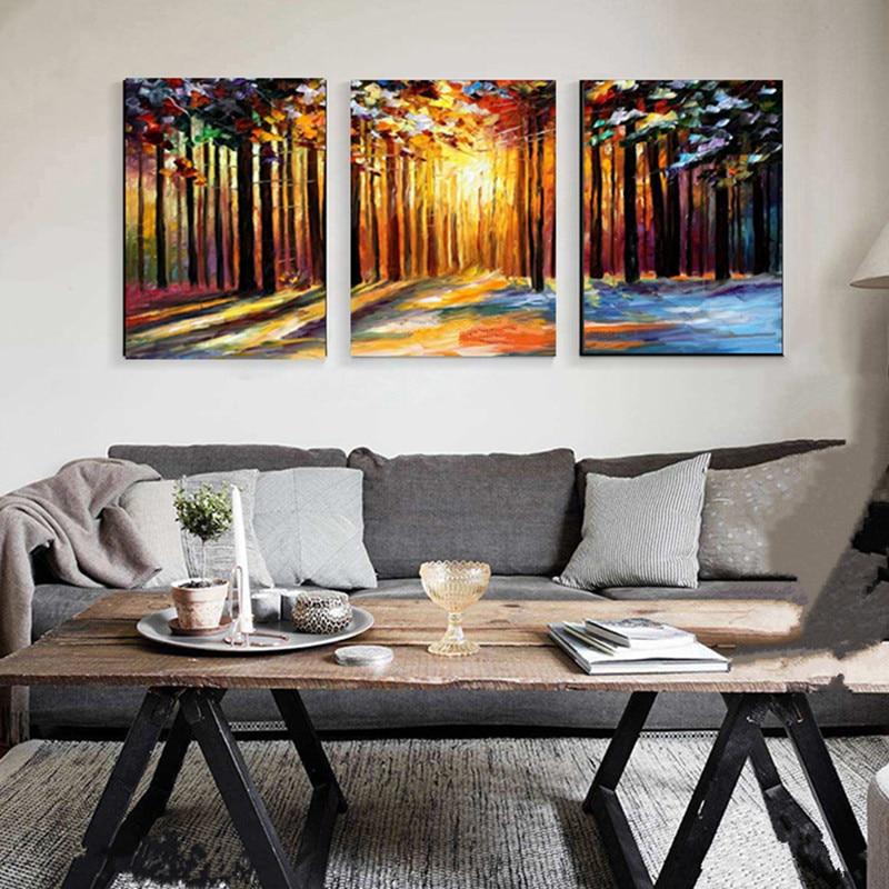 Cuadros grandes de 3 paneles hechos a mano cuchillo árboles paisaje pintura pintada a mano paisaje Natural pinturas al óleo en lienzo