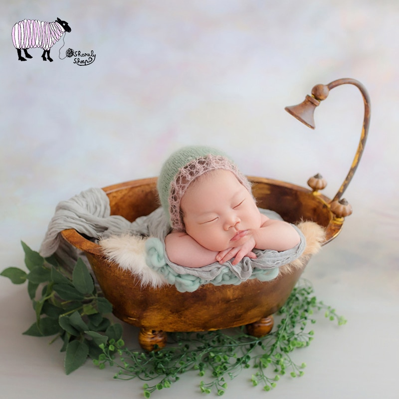 Newborn Iron Bathtub Basket Photography Props Infant Baby Photo Shoot Studio Summer Posing Props bebe fotografia Accessories
