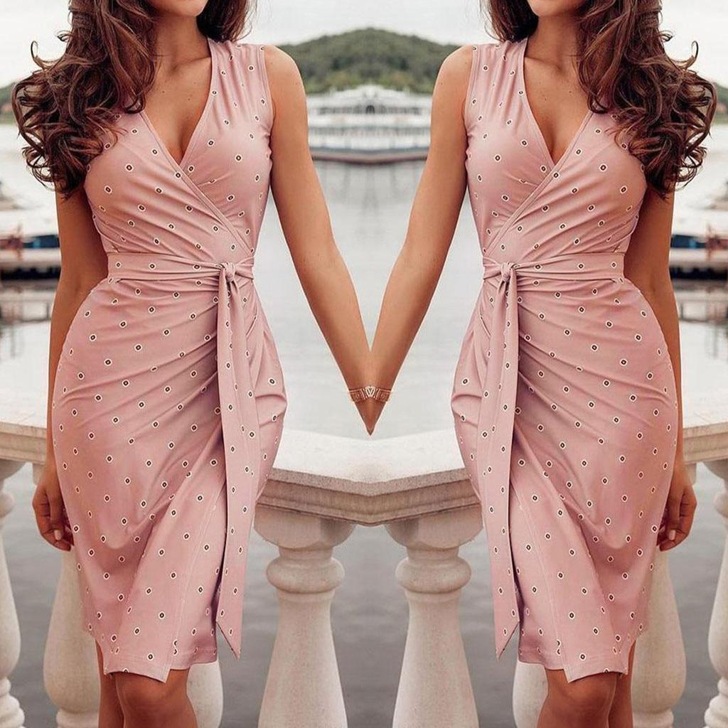 Moda bandagem vestido de impressão senhoras sexy com decote em v magro ajuste bodycon vestido de verão feminino casual vestido de festa à noite