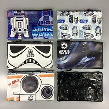 Star Wars Rechthoek Portemonnee Darth vader Starwar Witte Pionnen Anime Cartoon Pen Etui Doos Zakken Gift Mannen Casual Lederen portemonnee