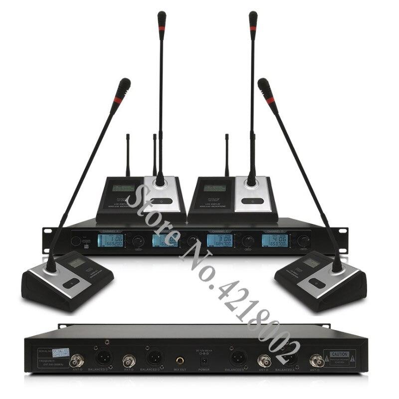 Pro système de Microphone de conférence sans fil UHF 4 canaux col de cygne micro de bureau président Microphone délégué pour grande salle de réunion