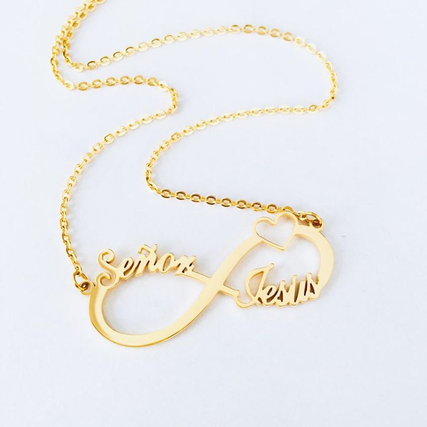 Collares con colgante de corazón infinito personalizado para hombres y mujeres 2 3 4 nombres infinitos joyería de Amistad Dropshipping