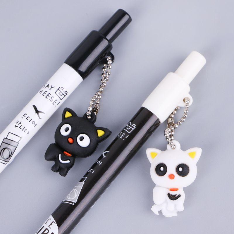2 uds., colgante de gato de dibujos animados de 0,5mm, lápiz mecánico, lapicero automático de plástico