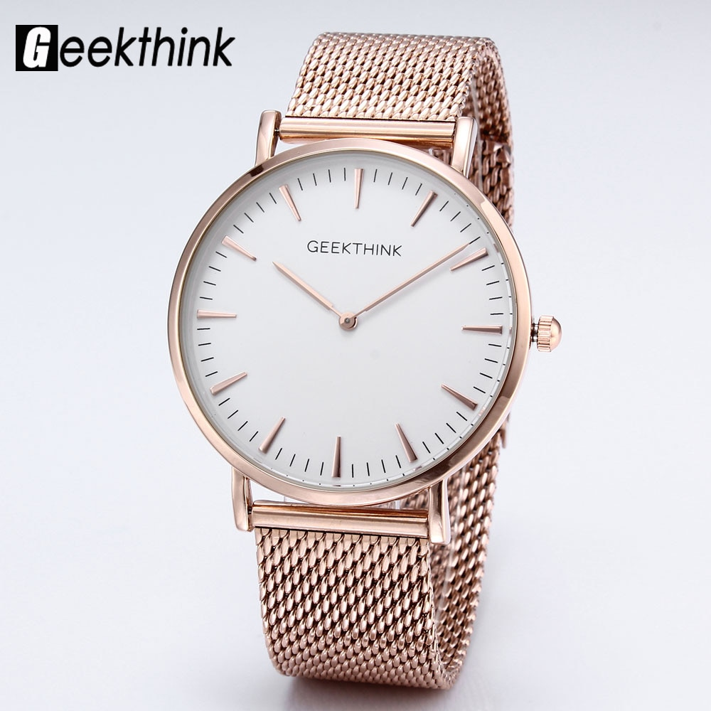 Top Luxury Brand Quartz watch Women Simple Dress Casual Japan Rose Gold stainless steel Mesh Band ultra thin clock female unisex enlarge