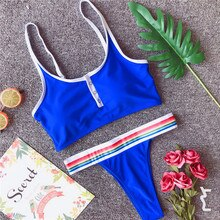 Bkning Sport Swimsuit Push Up Bikini Set High Cut Swimwear Women Swimming Suit Cropped Top Swim Suits Beach Wear Blue Biquini