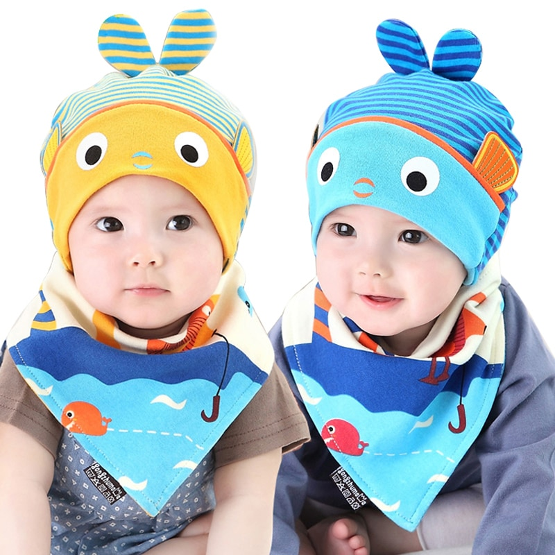 Gorro de bebé, conjunto de babero para niños y niñas de 5 a 24 meses con motivo de peces a rayas, gorro tejido para recién nacido, ropa, Baberos de toalla para bebé