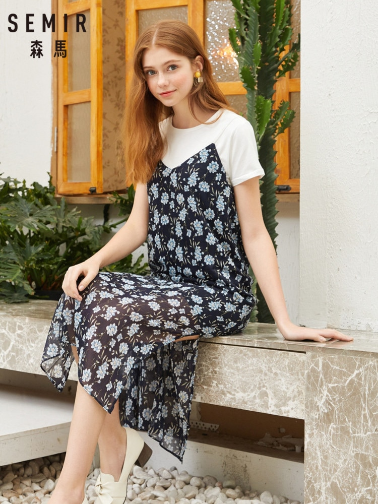 SEMIR 2020 summer new suit dress female round neck white shirt floral chiffon strap dress for women