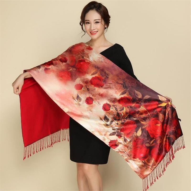 IANLAN Womens Dual Use Genuine Silk Printed Scarves Double-faced Long Wraps Tassels Shawls Ladies Winter Cloak Pashmina IL00139