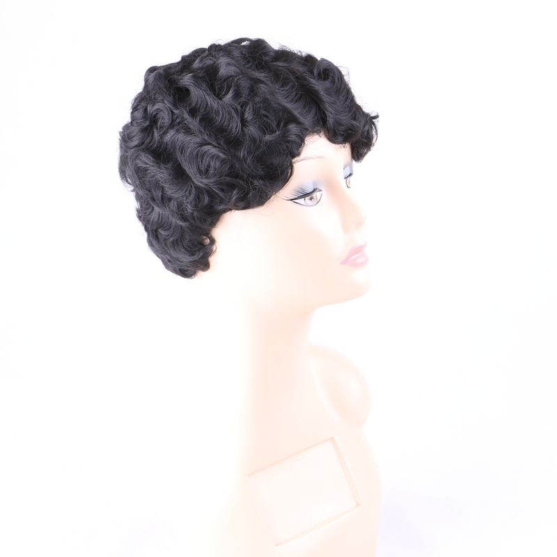 Luxury For Braiding 6inch Short Black Color Curly Heat Resistant Synthetic Wigs for Women Daily Wearing