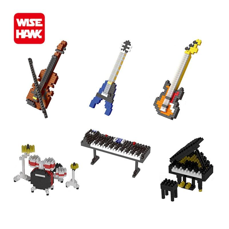 Full set 6 pcs diy musical instrument mini building blocks models guitar bass drum kit keyboard violin craft toys gifts for kids
