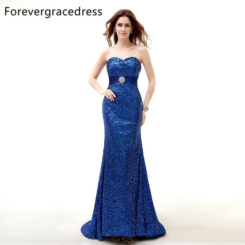 Forevergracedress, muestra Real, vestido de noche Azul Real, recién llegado, escote corazón, sin mangas, fajas largas, vestido Formal de fiesta, de talla grande