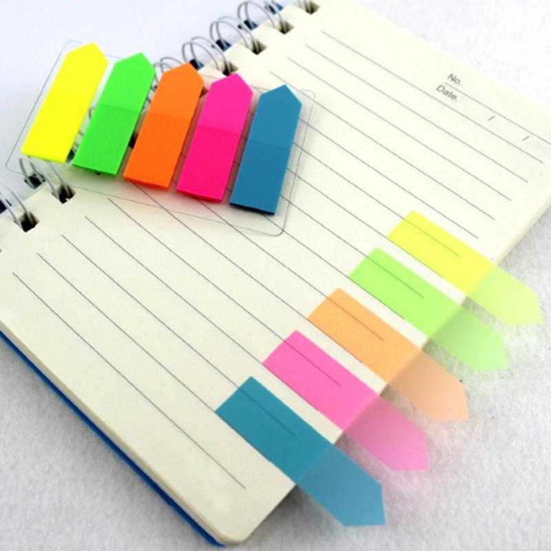 Bloc de notas recordatorias adhesivas autoadhesivas de plástico, Bloc de notas, etiqueta de categoría, etiqueta de índice, pegatinas de Planificador de correos, suministros escolares de oficina