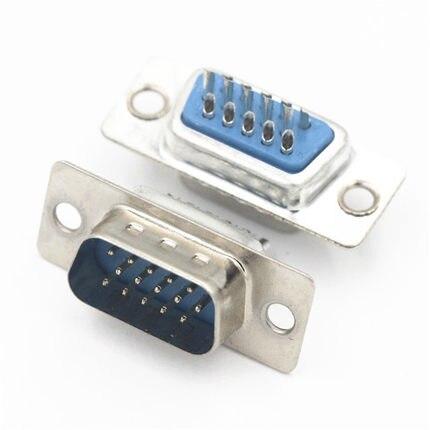 100 قطعة D-SUB موصل 15 موقف المكونات الذكور دبوس اللحيم سلك نوع محول القصدير لوحة VGA موصل المنافذ التسلسلية اللحيم كأس 3 صف