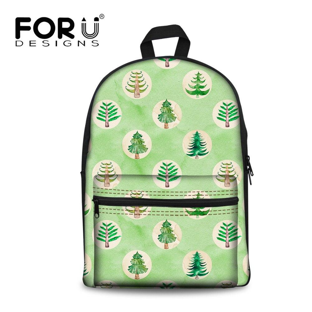 FORUDESIGNS 2019 mochila de lona para niños con estampado verde de árbol fresco para adolescentes, mochila de libros para estudiantes, mochila, bolsas de embalaje femeninas