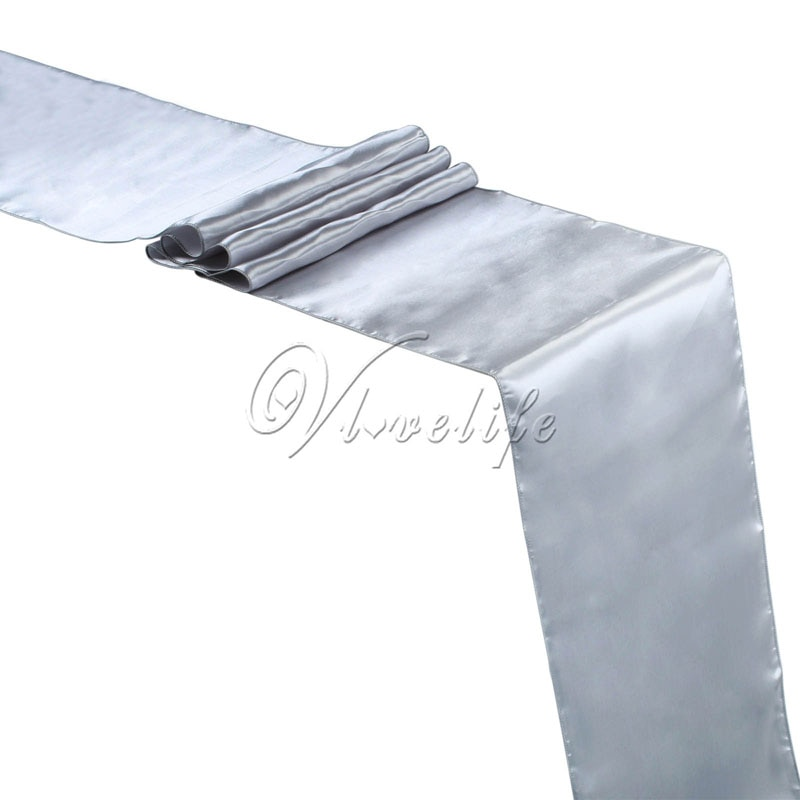 "Envío Gratis nuevo camino de mesa de satén de plata 12 ""x 108"" boda banquete hogar Hotel Decoración de mesa 30cm x 275 cm."