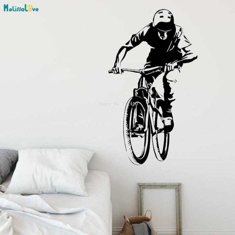 Bicicleta pared etiqueta engomada pegatinas motocross estilo libre de la bici de la suciedad habitación deporte de la motocicleta personalizada niños adolescente habitación YT1773