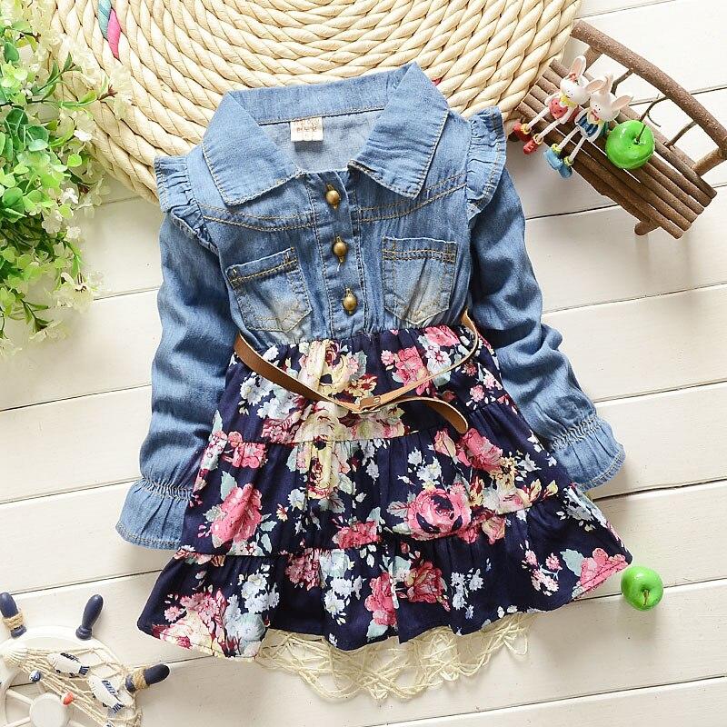 Платье для маленьких девочек, 2020 г., детская одежда, джинсы с длинными рукавами для маленьких девочек, платье принцессы с цветочным принтом, 2...