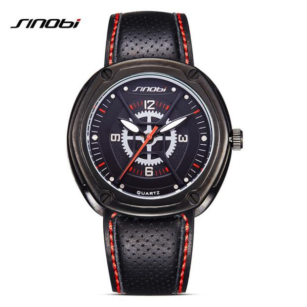 SINOBI Fashion Sport Watches Top Brand Luminous Watch Men Watch Leather Strap Waterproof Watches reloj hombre erkek kol saati