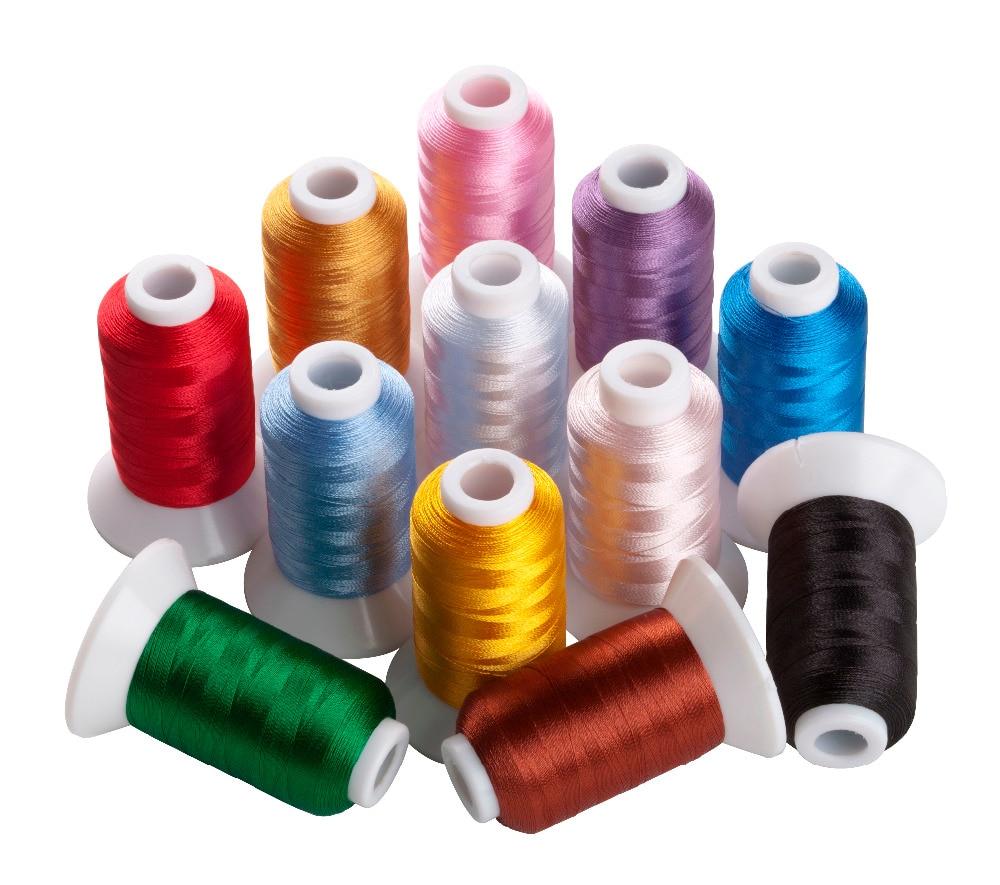 Simthread 12 colores básicos bordado hilo de máquina 550 yardas/Carrete con bobina tipo A como Bonus