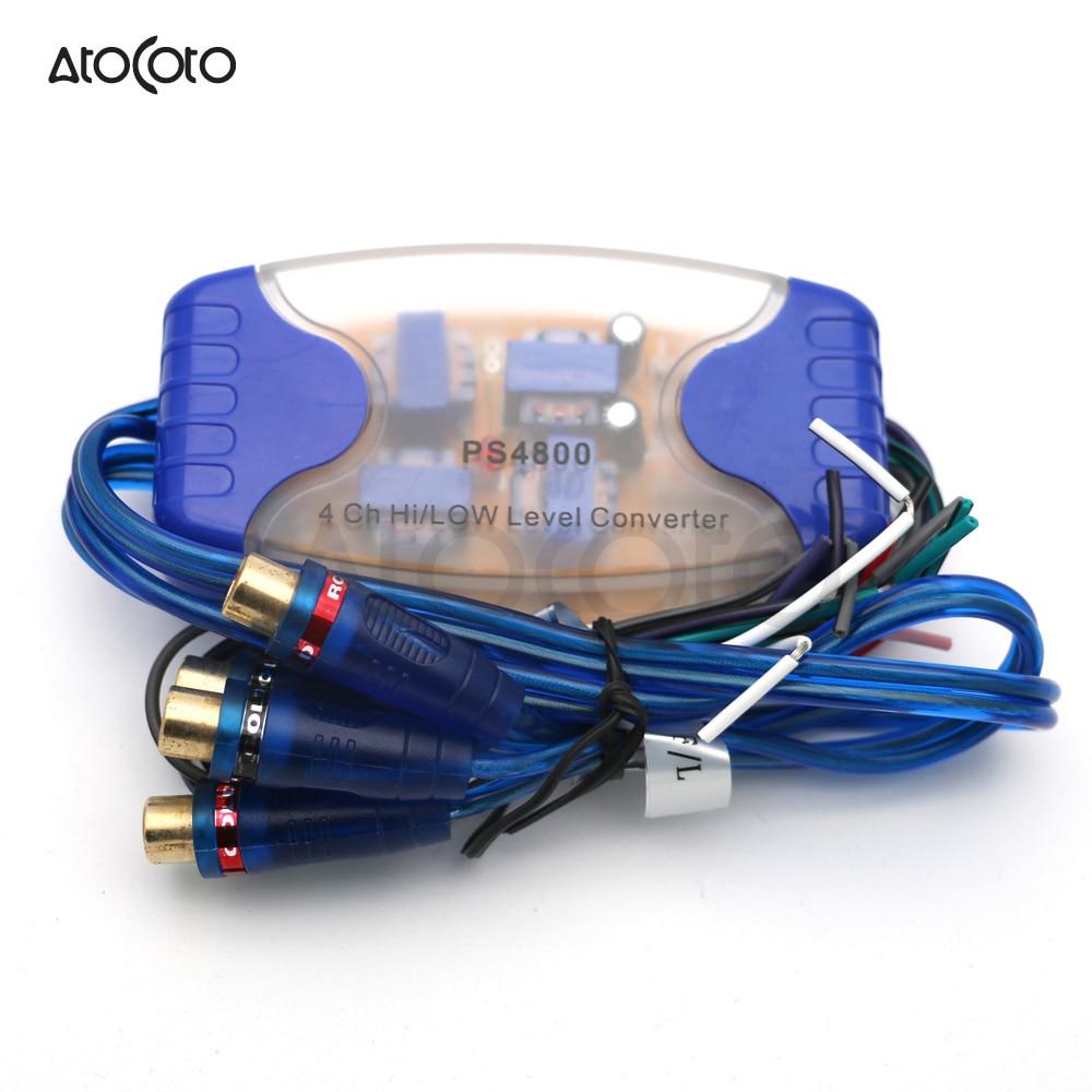 Salida RCA de 4 canales de alto a bajo Convertidor de nivel para Adaptador de Audio para coche/marino